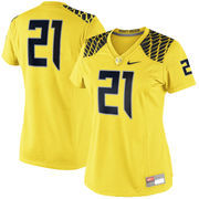 Women's Nike #21 Yellow Oregon Ducks Game Replica Football Jersey