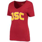 Women's Cardinal USC Trojans Wordmark V-Neck T-Shirt