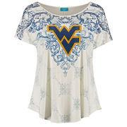 Women's Cream West Virginia Mountaineers Plus Size Victorian Print Dolman Tunic