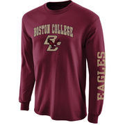 Mens Boston College Eagles Maroon Arch & Logo Long Sleeve T-Shirt