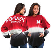 Women's Red Nebraska Cornhuskers Ombre Long Sleeve Dip-Dyed Spirit Jersey