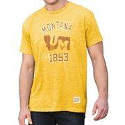 Mens Montana Grizzlies Original Retro Brand Gold Mock Twist T-Shirt