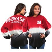 Women's Red Nebraska Cornhuskers Ombre Long Sleeve Dip-Dyed Spirit Jersey