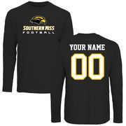 Men's Black Southern Miss Golden Eagles Personalized Football Long Sleeve T-Shirt