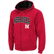 Men's Stadium Athletic Scarlet Nebraska Cornhuskers Arch & Logo Full Zip Hoodie