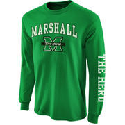 Mens Marshall Thundering Herd Kelly Green Big Arch N' Logo Love Sleeve T-Shirt