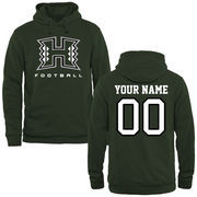 Men's Green Hawaii Warriors Personalized Football Logo Pullover Hoodie