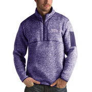 Men's Antigua Heathered Purple TCU Horned Frogs Fortune 1/2-Zip Pullover Sweater