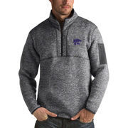 Men's Antigua Heathered Charcoal Kansas State Wildcats Fortune 1/2-Zip Pullover Sweater