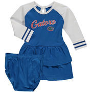 Girl's Infant Royal Florida Gators Kacey Raglan Ruffle Long Sleeve Dress