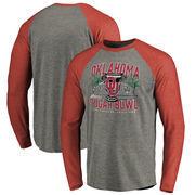 Men's Fanatics Branded Heather Gray Oklahoma Sooners 2017 Sugar Bowl Bound Prime Raglan Long Sleeve T-Shirt