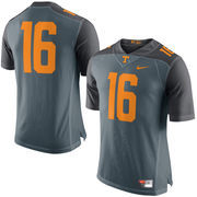 Men's Nike Gray Tennessee Volunteers No. 16 Limited Football Jersey