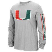 Men's adidas Heathered Gray Miami Hurricanes Play Long Sleeve T-Shirt