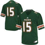 Men's adidas No. 15 Green Miami Hurricanes Replica Football Jersey