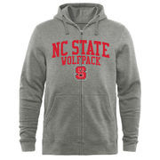 Men's Heathered Gray NC State Wolfpack Arched School Name & Mascot Full-Zip Hoodie