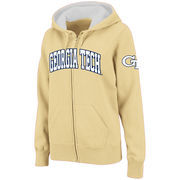 Women's Stadium Athletic Gold Georgia Tech Yellow Jackets Arched Name Full-Zip Hoodie