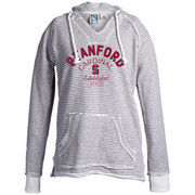 Women's Blue 84 Cream Stanford Cardinal Striped French Terry V-Neck Pullover Hoodie