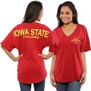 Women's Cardinal Iowa State Cyclones Short Sleeve Spirit Jersey V-Neck Top