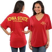 Women's Cardinal Iowa State Cyclones Oversized Short Sleeve Spirit Jersey V-Neck Top
