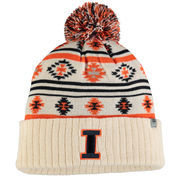 Women's Top of the World Cream Illinois Fighting Illini Aztech Cuffed Pom Knit Hat