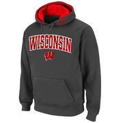 Men's Stadium Athletic Charcoal Wisconsin Badgers Arch & Logo Pullover Hoodie