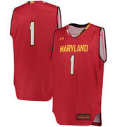 Men's Under Armour #1 Red Maryland Terrapins Replica Basketball Performance Jersey