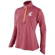 Nike Washington State Cougars Women's Element Long Sleeve Half Zip Performance Top - Crimson