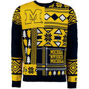 Men's Navy Michigan Wolverines Patches Ugly Sweater