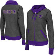 Women's Adult Colosseum Charcoal Washington Huskies Velocity Cowl Neck Full Zip Jacket