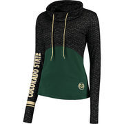 Women's Colosseum Black/Green Colorado State Rams Scaled Cowl Neck Pullover Hoodie