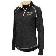 Women's Colosseum Black Purdue Boilermakers Bikram 1/4 Zip Long Sleeve Jacket