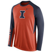 Nike Orange Illinois Fighting Illini 2015-2016 Elite Basketball Pre-Game Shootaround Long Sleeve Dri-FIT Top