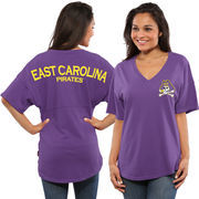 Women's Purple East Carolina Pirates Spirit Jersey Oversized T-Shirt