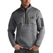 Men's Antigua Heathered Charcoal Colorado Buffaloes Fortune 1/2-Zip Pullover Sweater