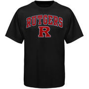 Men's New Agenda Black Rutgers Scarlet Knights Arch Over Logo T-Shirt