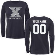 Xavier Musketeers Women's Personalized Basketball Long Sleeve Classic Fit T-Shirt - Navy Blue