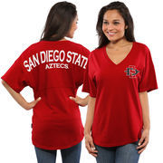Women's Red San Diego State Aztecs Oversized Short Sleeve Spirit Jersey V-Neck Top
