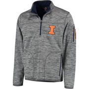 Men's G-III Sports by Carl Banks Heather Gray Illinois Fighting Illini Fast Pace Half-Zip Pullover Jacket