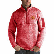 Men's Antigua Heathered Cardinal Iowa State Cyclones Fortune 1/2-Zip Pullover Sweater