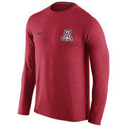 Men's Nike Heathered Cardinal Arizona Wildcats Touch Performance Long Sleeve T-Shirt