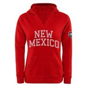 New Mexico Lobos Women's Chain V-Notch Pullover Hoodie - Cherry