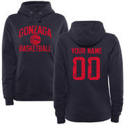 Women's Navy Gonzaga Bulldogs Personalized Distressed Basketball Pullover Hoodie