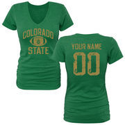 Women's Kelly Green Colorado State Rams Personalized Distressed Football Tri-Blend V-Neck T-Shirt