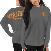Women's Tennessee Volunteers Gray Aztec Sweeper Long Sleeve Oversized Top