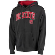 Men's Stadium Athletic Charcoal NC State Wolfpack Arch & Logo Full Zip Hoodie