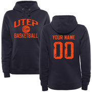 Women's Navy UTEP Miners Personalized Distressed Basketball Pullover Hoodie