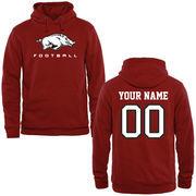 Arkansas Razorbacks Personalized Football Pullover Hoodie - Cardinal