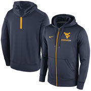 Men's Nike Navy West Virginia Mountaineers Sideline KO Fleece Full Zip Therma-FIT Hoodie