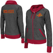 Women's Adult Colosseum Charcoal Iowa State Cyclones Velocity Cowl Neck Full Zip Jacket