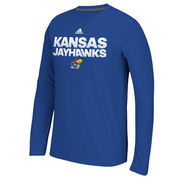 Men's adidas Blue Kansas Jayhawks 2016 Sideline Hustle Ultimate Long Sleeve climalite T-Shirt